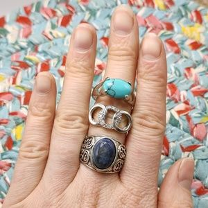 Mystery Bundle lot 3 rings plus size turquoise